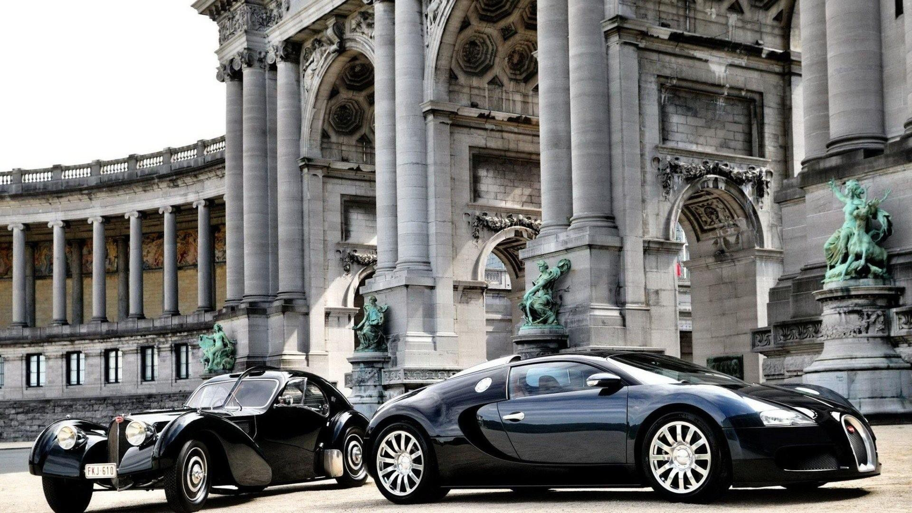 cars_bugatti_veyron_luxury_black_parked_building_77621_3840x2160