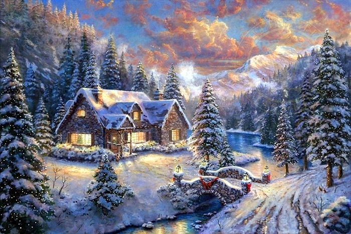Xmas Lovely Paintings Love Holidays Year Snow Seasons Architecture Country Pretty Beautiful Cottages White Bridges Christmas Trees Creek Colors Houses Creative Winter Pre New HD Cover Facebook